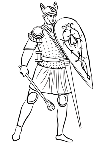 343x480 Medieval Soldier With Mace Coloring Page Free Printable Coloring