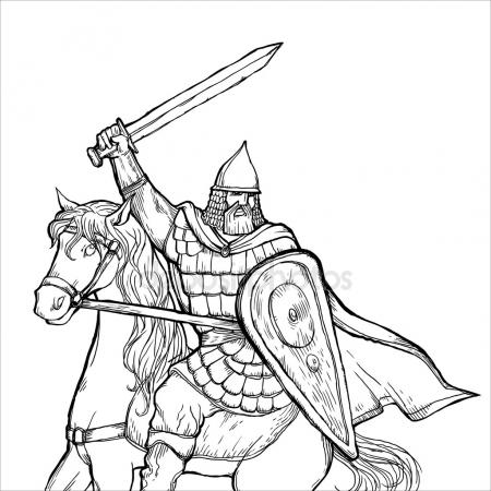 450x450 Medieval Warrior With A Halberd. Vector Drawing Stock Vector