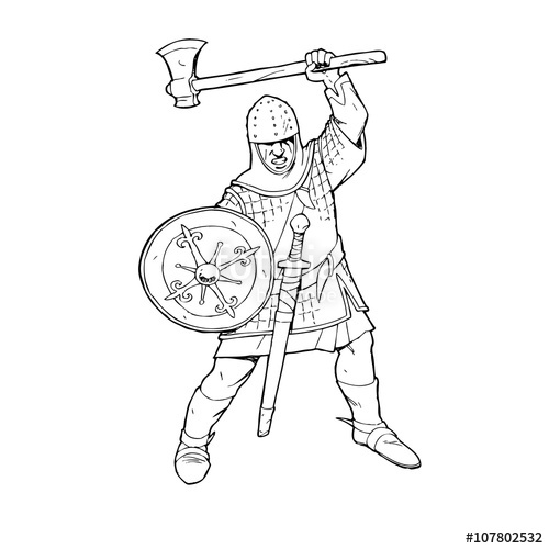 500x500 Medieval Warrior Knight With Axe Vector Silhouette. Eps 10 Stock