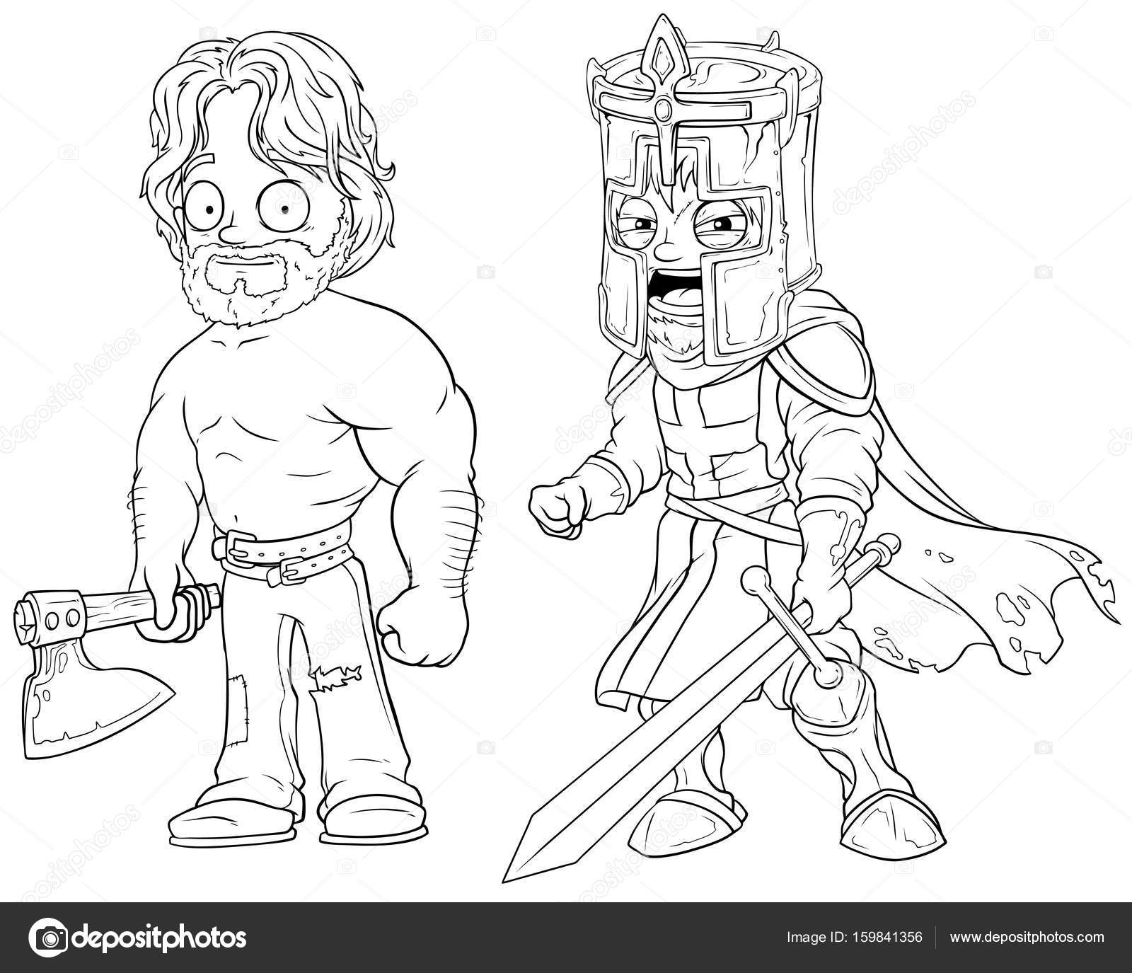 1600x1375 Cartoon Warrior Knight With Axe And Sword Character Vector Set