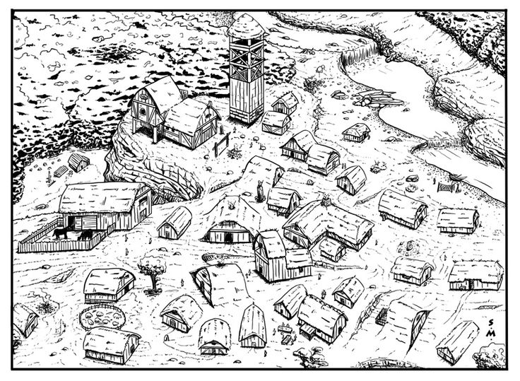 Medieval Town Drawing