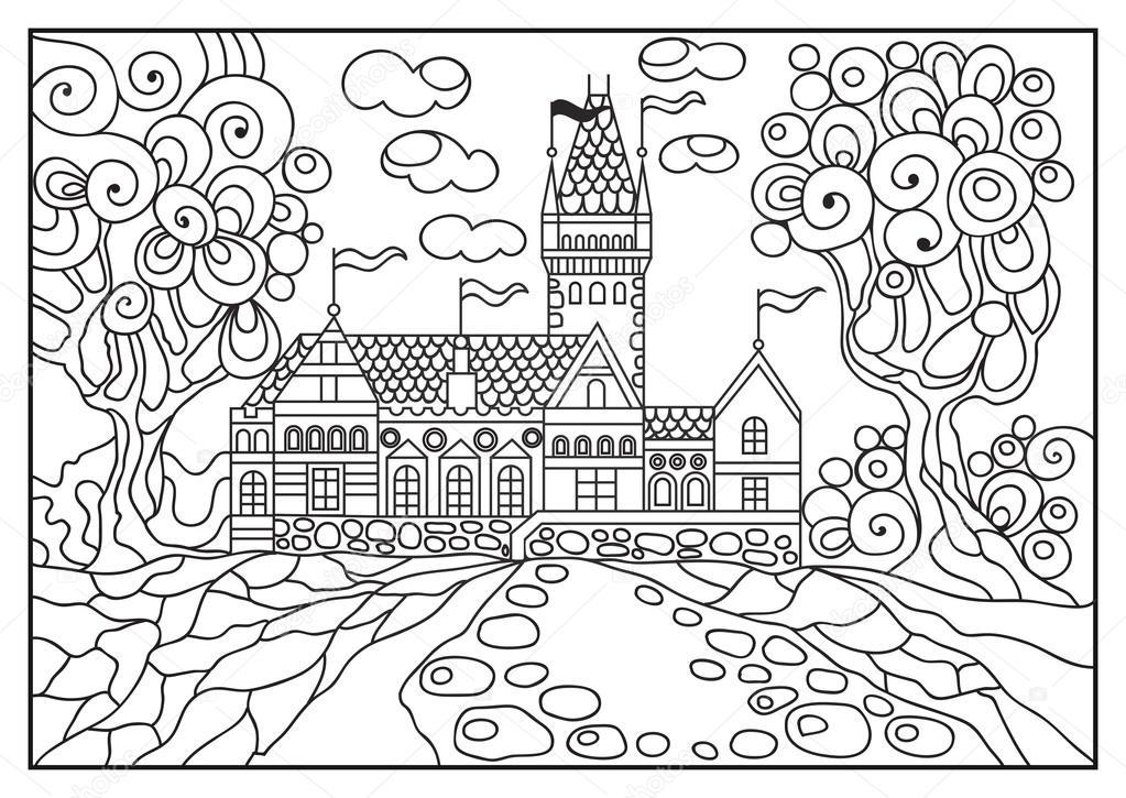 1023x725 Graphical Illustration Of A Castle On The Background Of Nature 5
