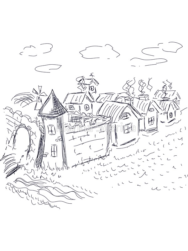 600x800 The Medieval Town Sketch Stickers By Marina Sterina Redbubble