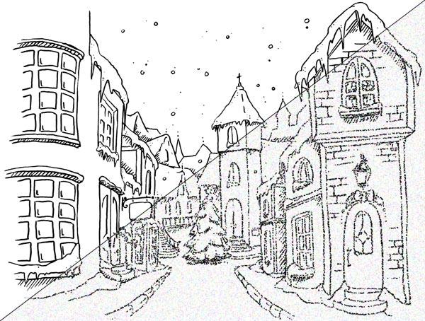 600x454 Christmas Town (Digi), Motivet Rubberstamps Webshop