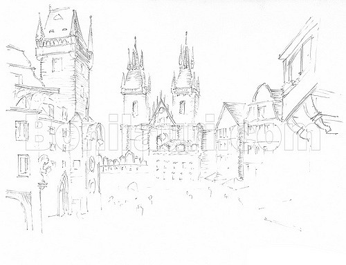 500x384 Czech Republic, Prague, Drawing Of The Old Town Square