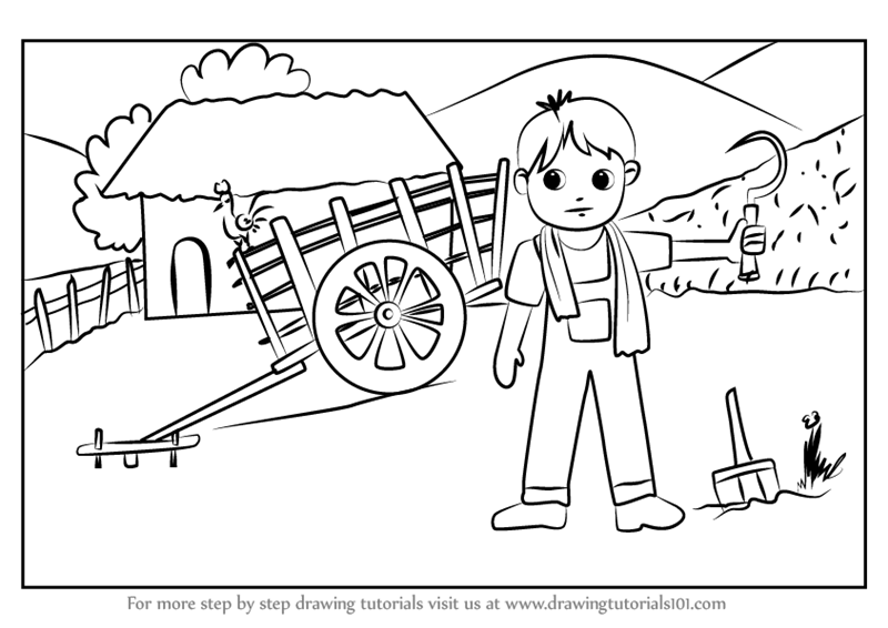 800x566 Learn How To Draw A Farmer Village Scene (Villages) Step By Step