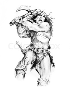 243x320 Tattoo Art Design, Viking Warrior Decorated With Tribal Artworks