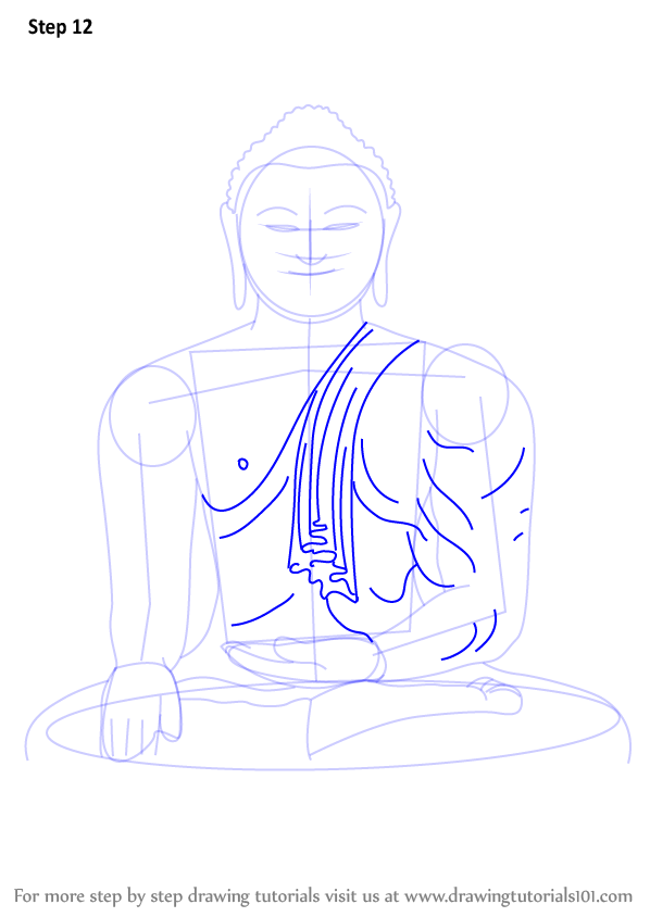 598x844 Learn How To Draw A Buddha Meditating (Buddhism) Step By Step