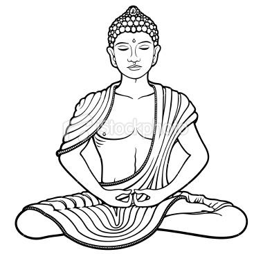 380x367 Line Art Of Young Buddha Meditating In Lotus Position. Buddha