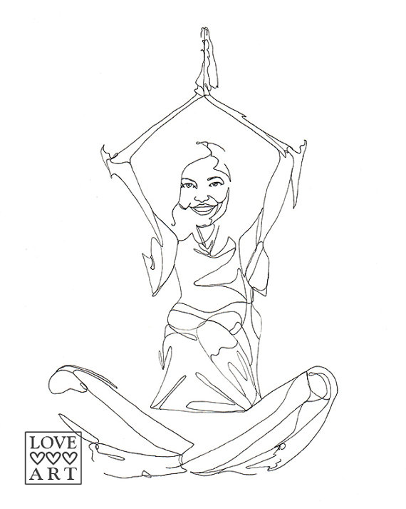 570x713 Yoga Art Print Happy Meditation