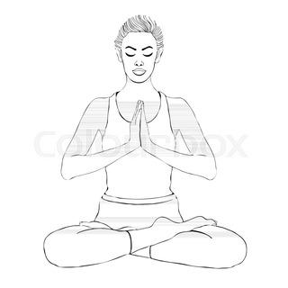 320x320 Yoga Pose, Woman Meditating In A Lotus Pose, Vector Drawing
