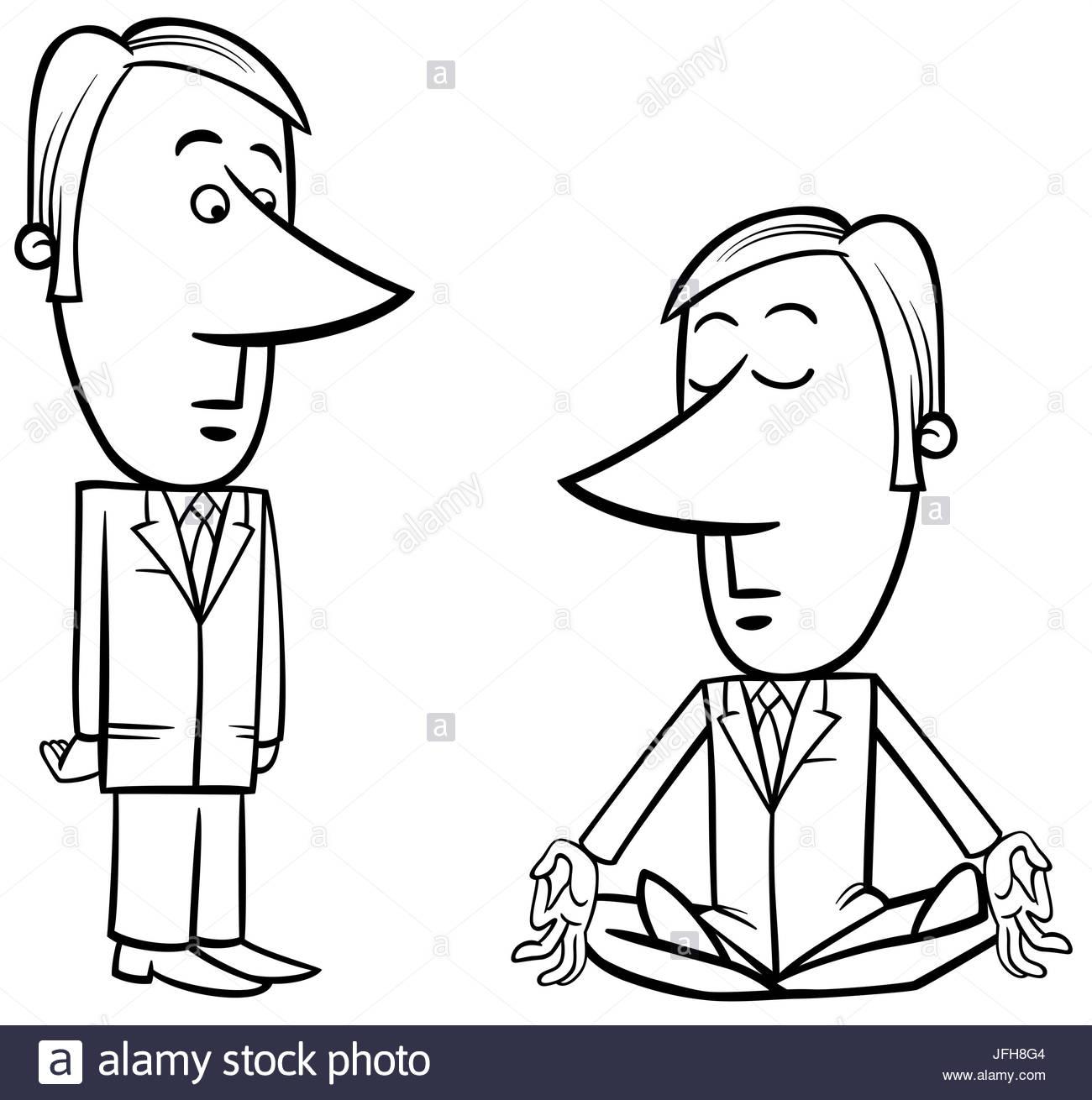 1300x1310 Meditating Businessman Drawing Stock Photo, Royalty Free Image