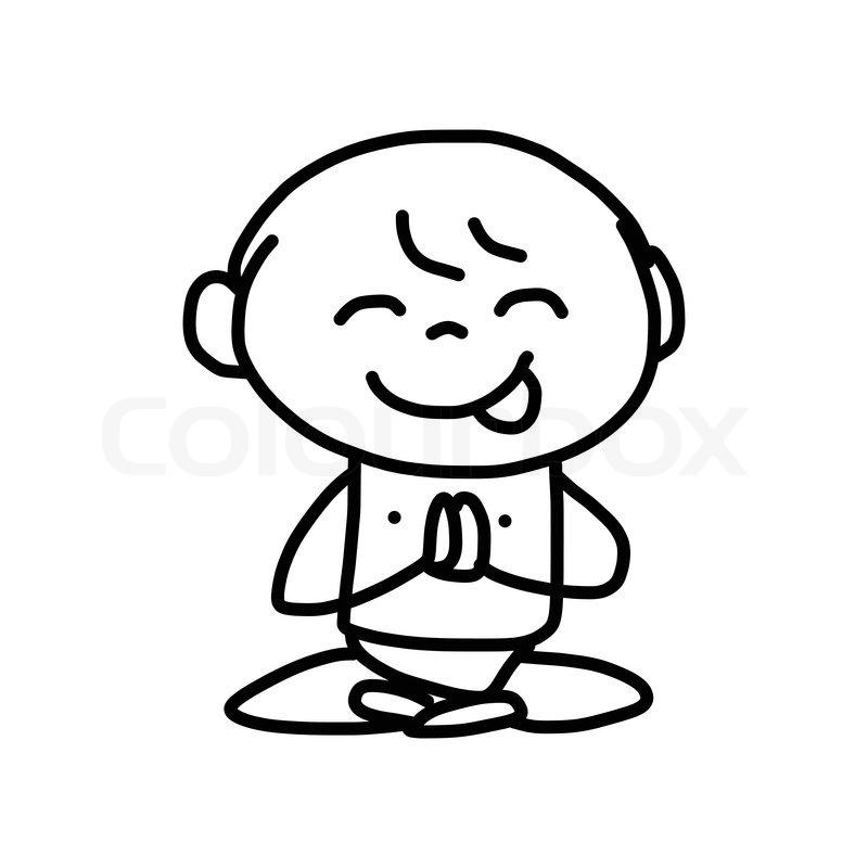 800x800 Hand Drawing Cartoon Character Happy Kids Meditation Stock