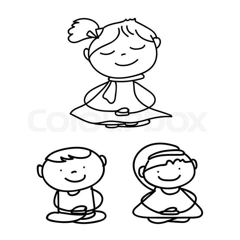 800x800 Hand Drawing Cartoon Meditation Children Vector Stock Vector