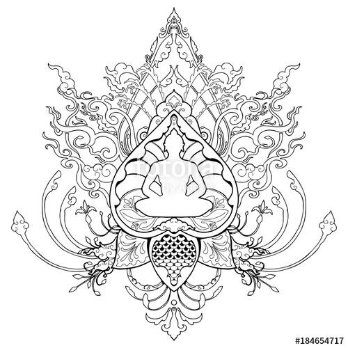 500x500 Buddha Meditation Doodle Drawing Illustration With Thai Style