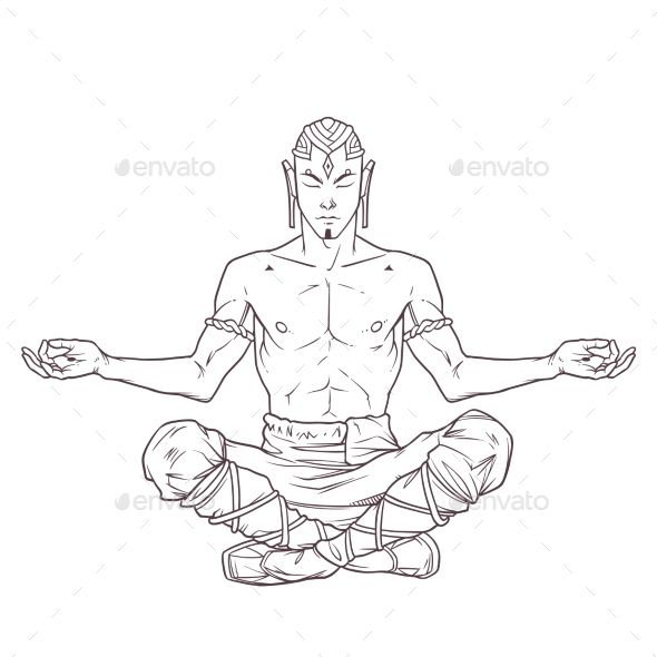 Meditation Pose Drawing