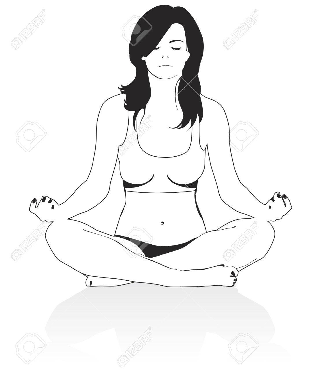 1114x1300 Girl In A Pose Of Meditation Royalty Free Cliparts, Vectors,