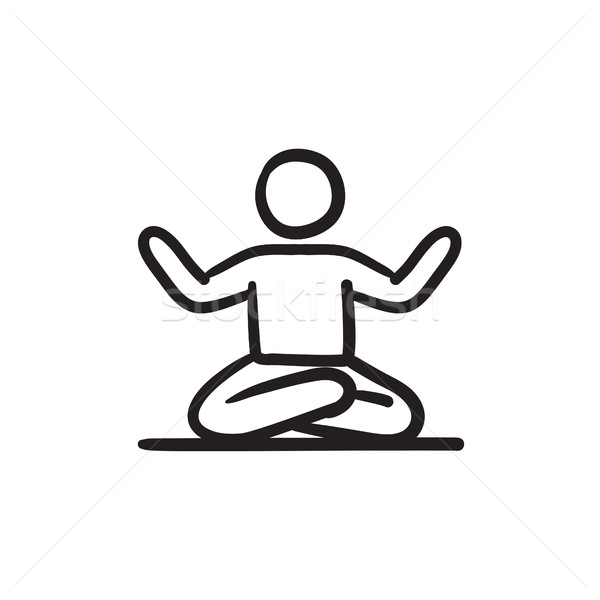 600x600 Man Meditating In Lotus Pose Sketch Icon. Stock Photo Andrei