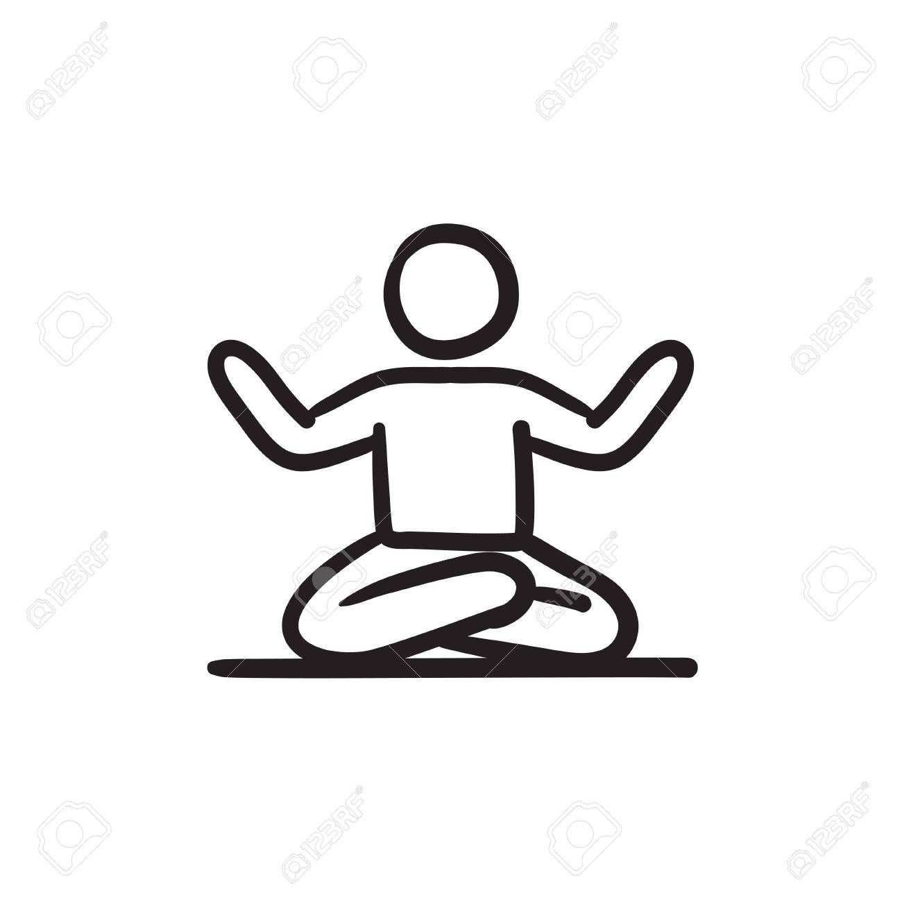 1300x1300 A Man Meditating In Lotus Pose Vector Sketch Icon Isolated