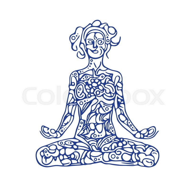 800x800 Meditating Woman Illustration. Abstract Woman Figure In Lotus Pose