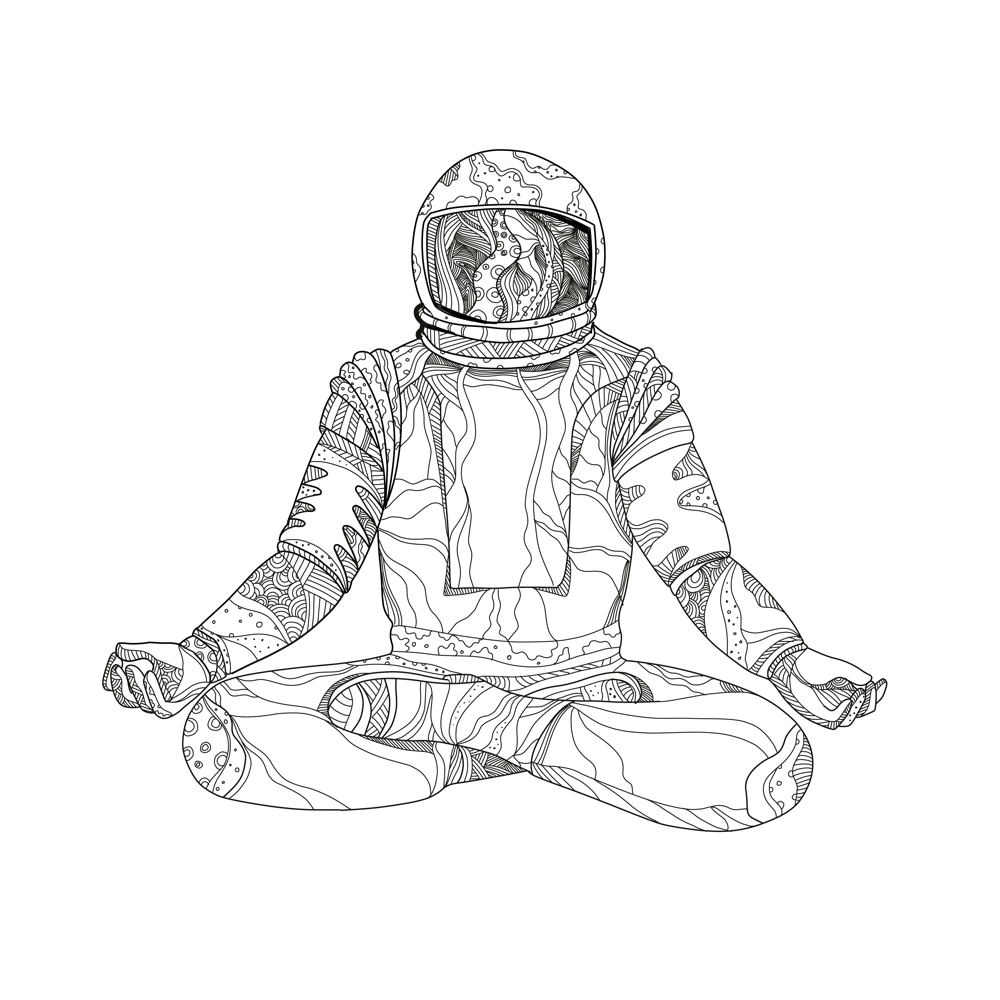 1000x1000 Astronaut Lotus Position Mandala On Behance