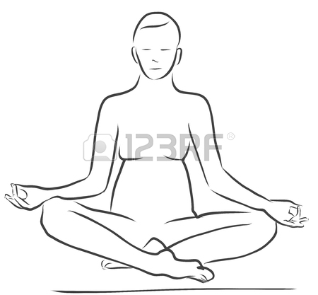 450x417 Sukhasana Easy Pose, Yoga Figure, Clean Outline Handdrawn Vector