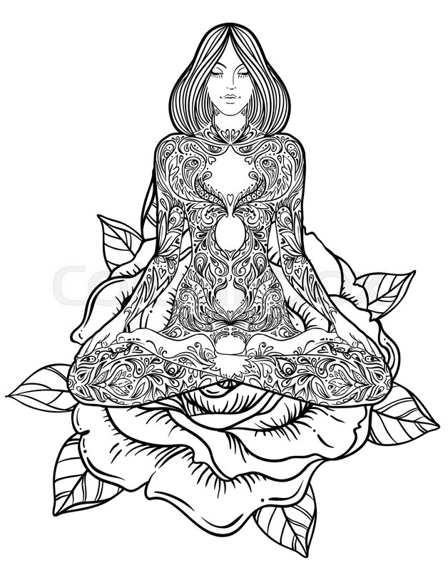 628x800 Woman Ornate Silhouette Sitting In Lotus Pose. Meditation, Aura
