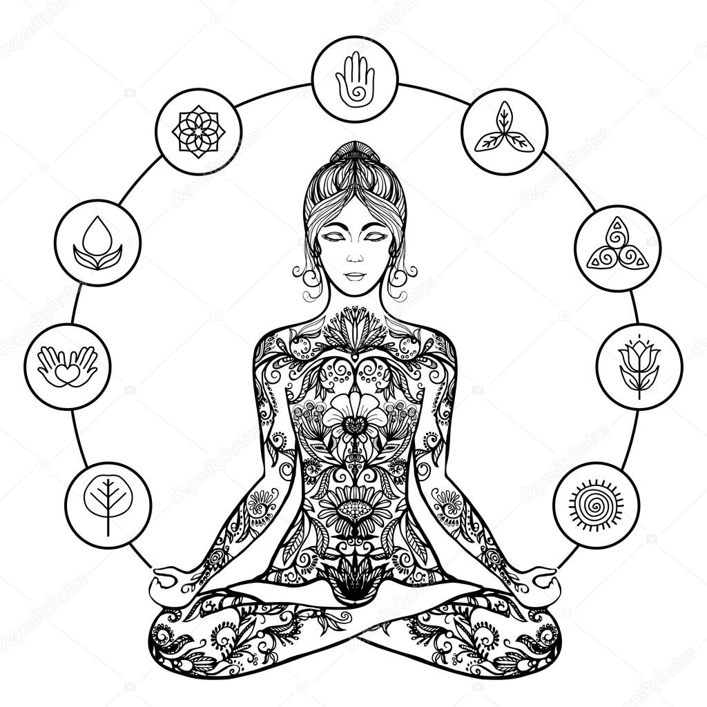 1024x1024 Decorative Lotus Yoga Woman Black Icon Stock Vector