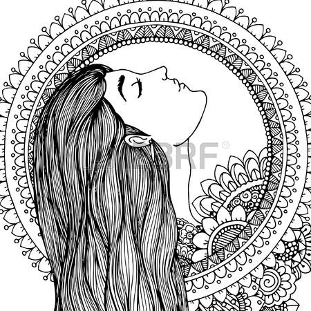 450x450 Illustration Zentangl Girl In The Floral Frame. Doodle Drawing