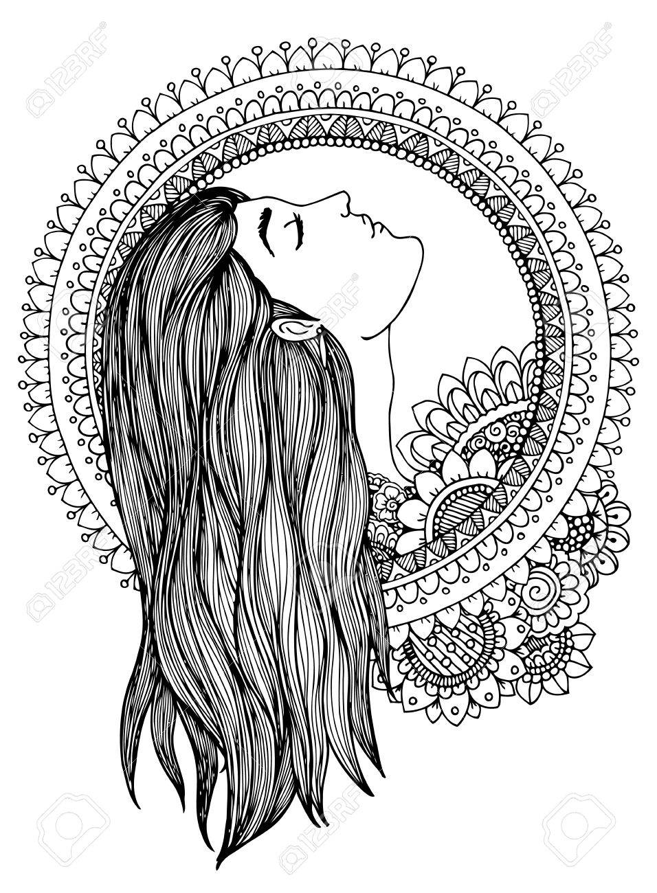 956x1300 Illustration Zentangle Girl In The Floral Frame. Doodle Drawing