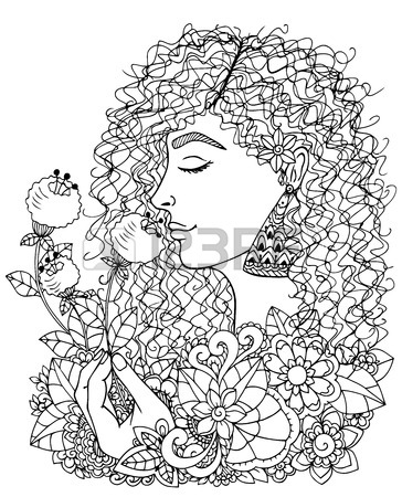 364x450 Illustration Zentangle Girl With Pumpkin. Doodle Drawing. Coloring