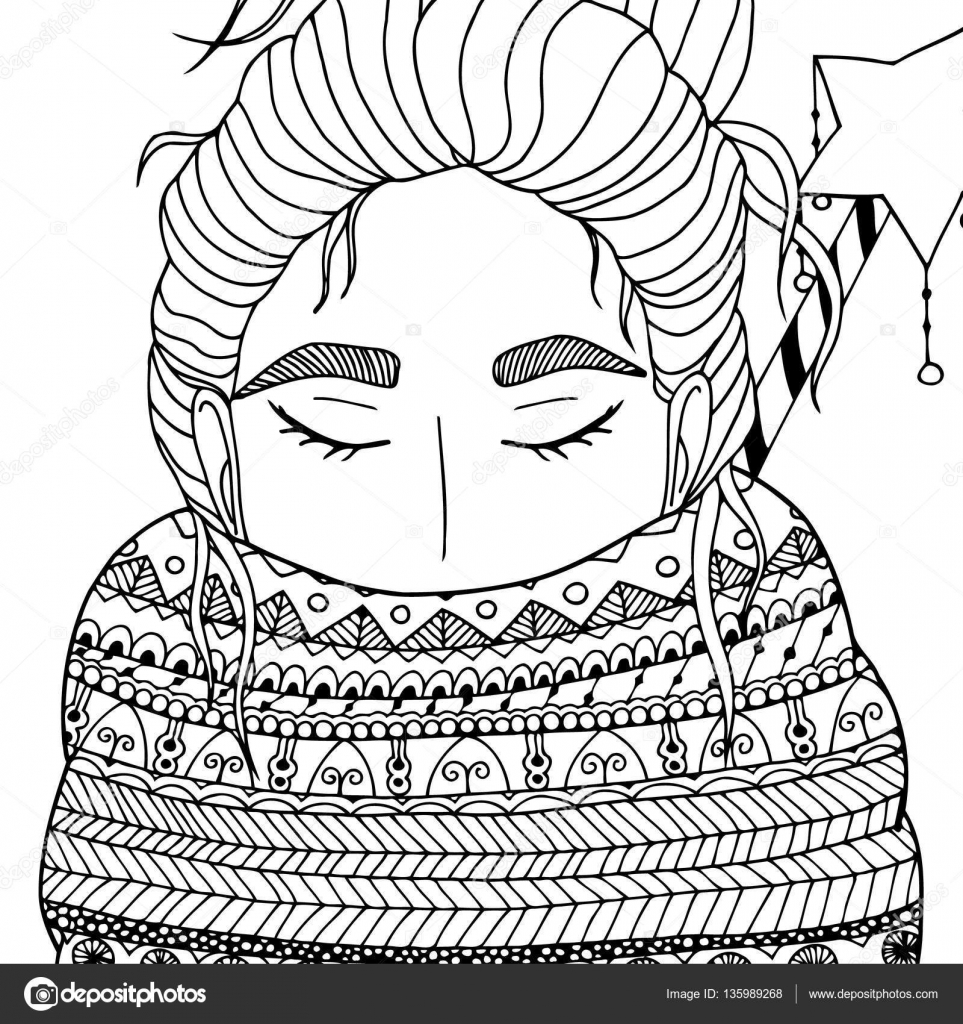 963x1024 Vector Christmas Illustration Zentangl Girl In Scarf. Doodle