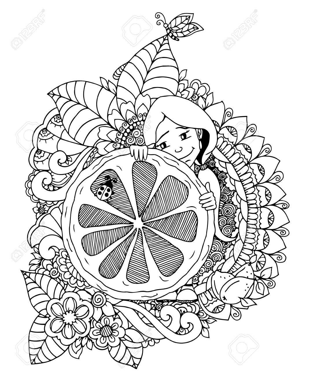 1072x1300 Vector Illustration Zentangl, A Girl Holding A Lemon In