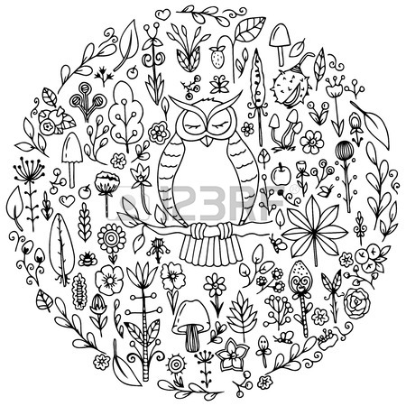 450x450 Vector Illustration Zentangl, Round Set Flowers. Doodle Drawing