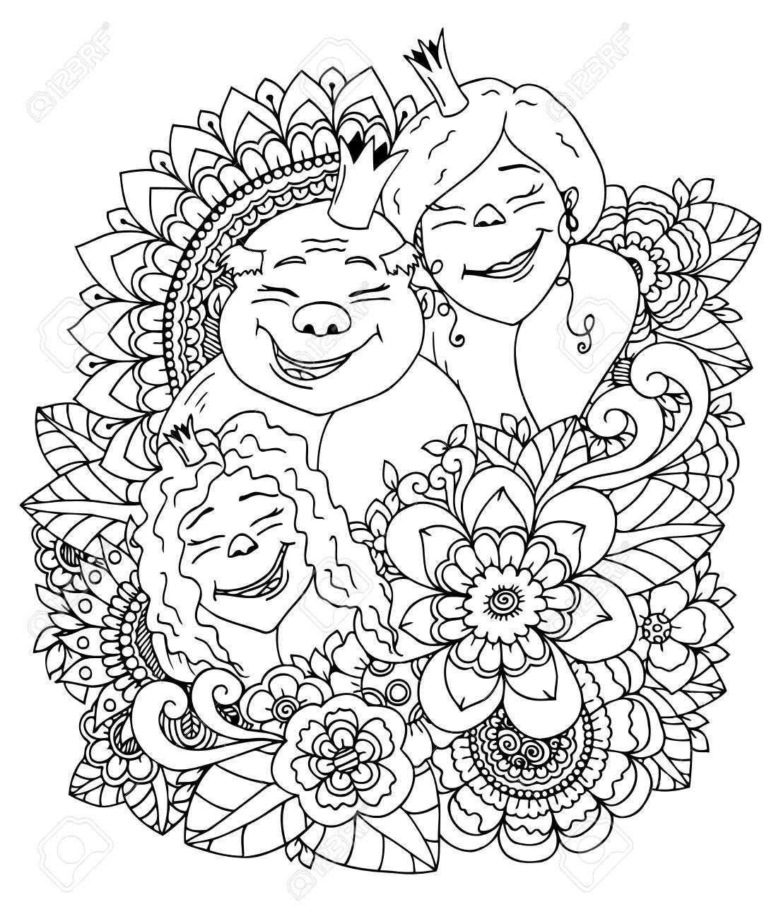 1105x1300 Vector Illustration Zentangl , The Royal Family In A Flower Frame
