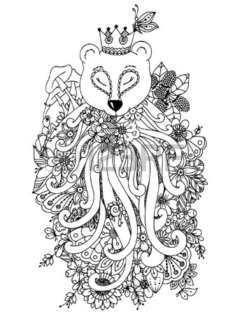 343x450 Vector Illustration Zentangl Bear With Flowers. Doodle Drawing