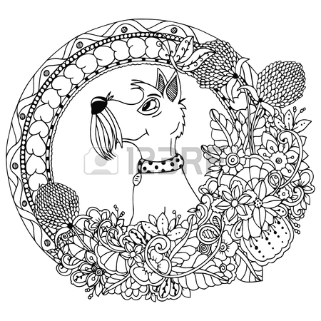 450x450 Vector Illustration Zentangl Dog In A Circular Floral Frame