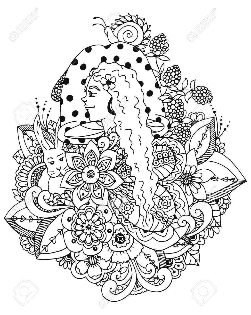 1035x1300 Vector Illustration Zentangl Girl And Mushroom In The Flowers