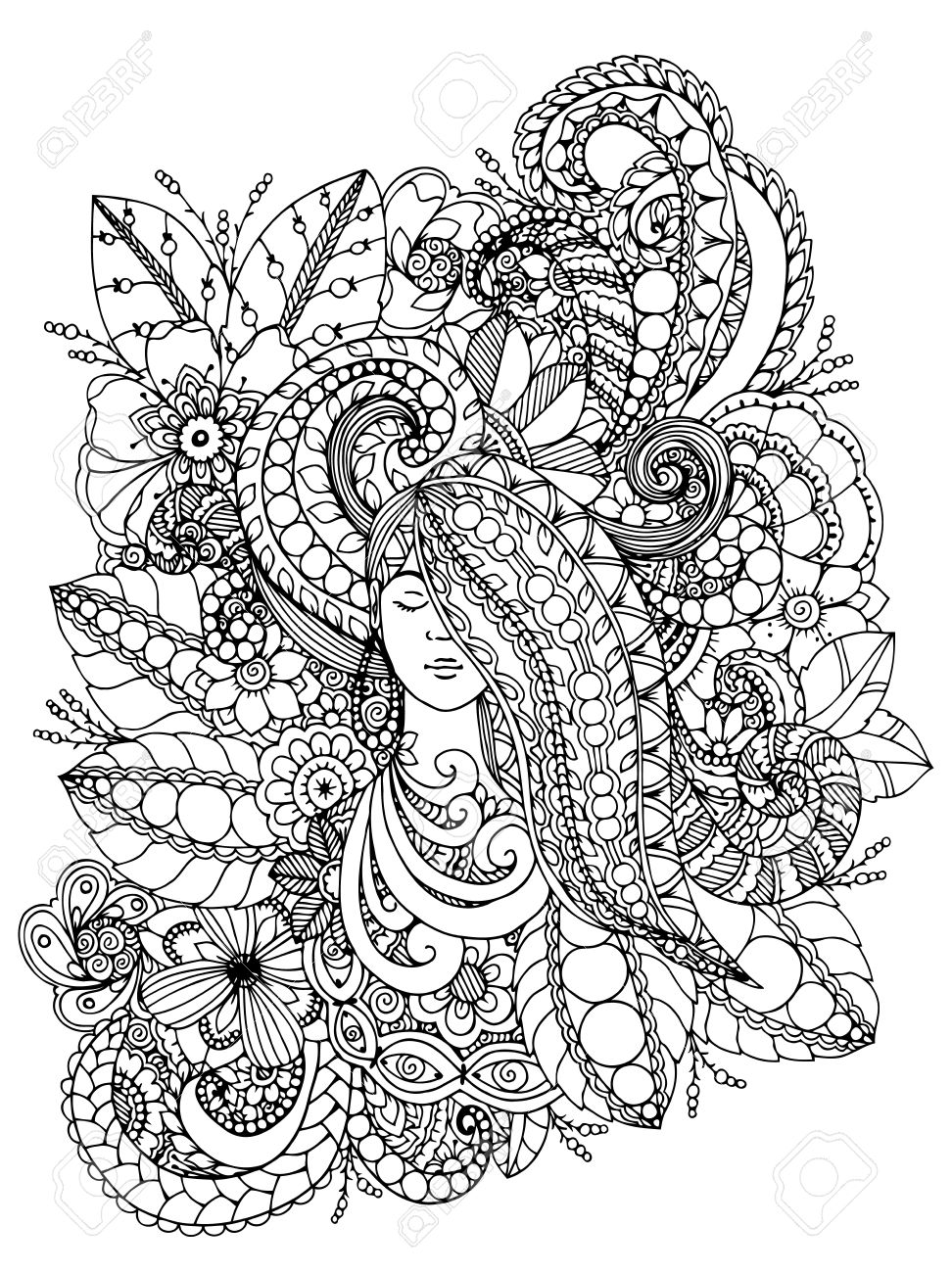 972x1300 Vector Illustration Zentangl Girl With Flowers In Her Hair. Doodle