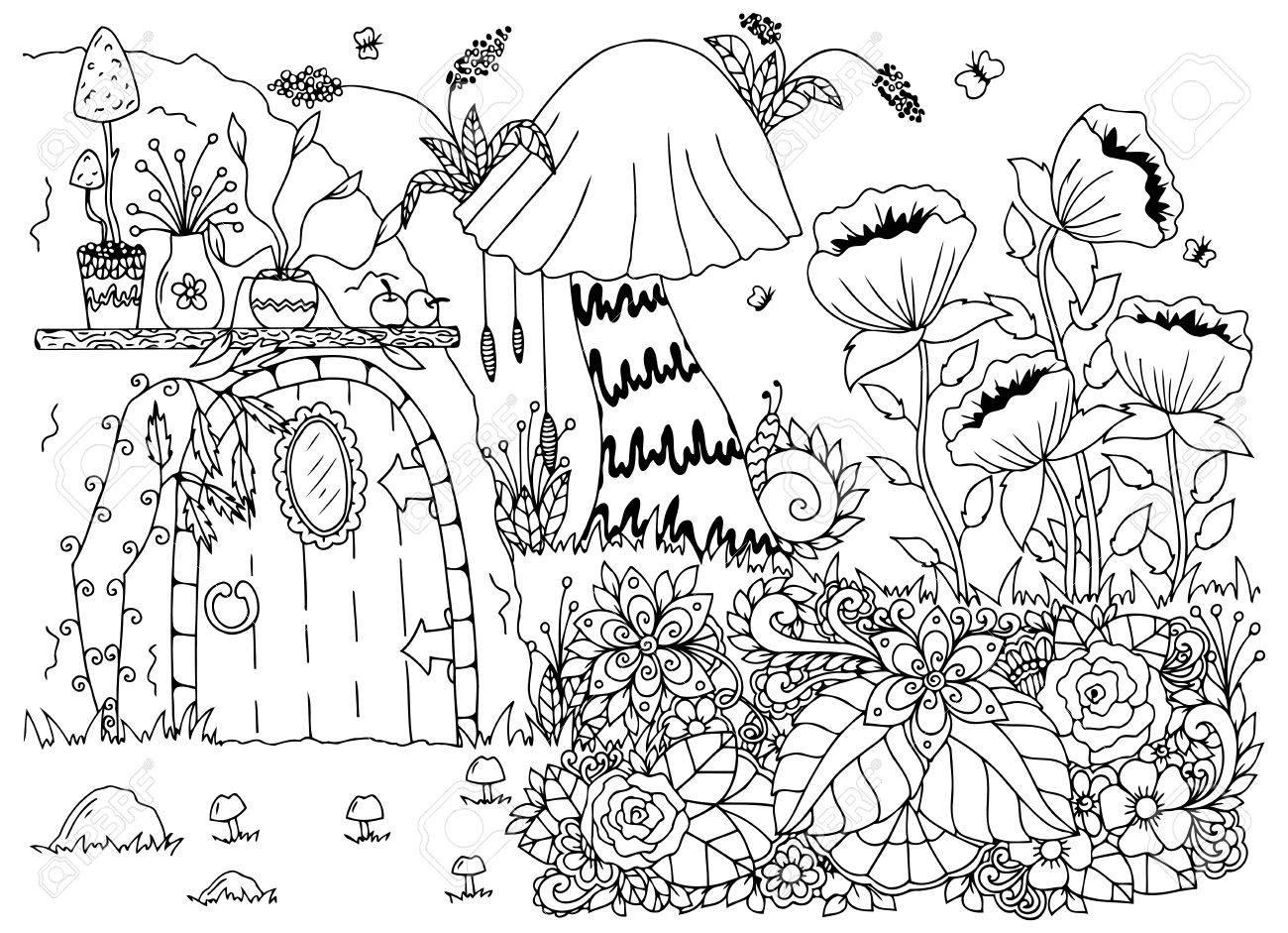 1300x941 Vector Illustration Zentangl House In The Woods, Flowers. Doodle