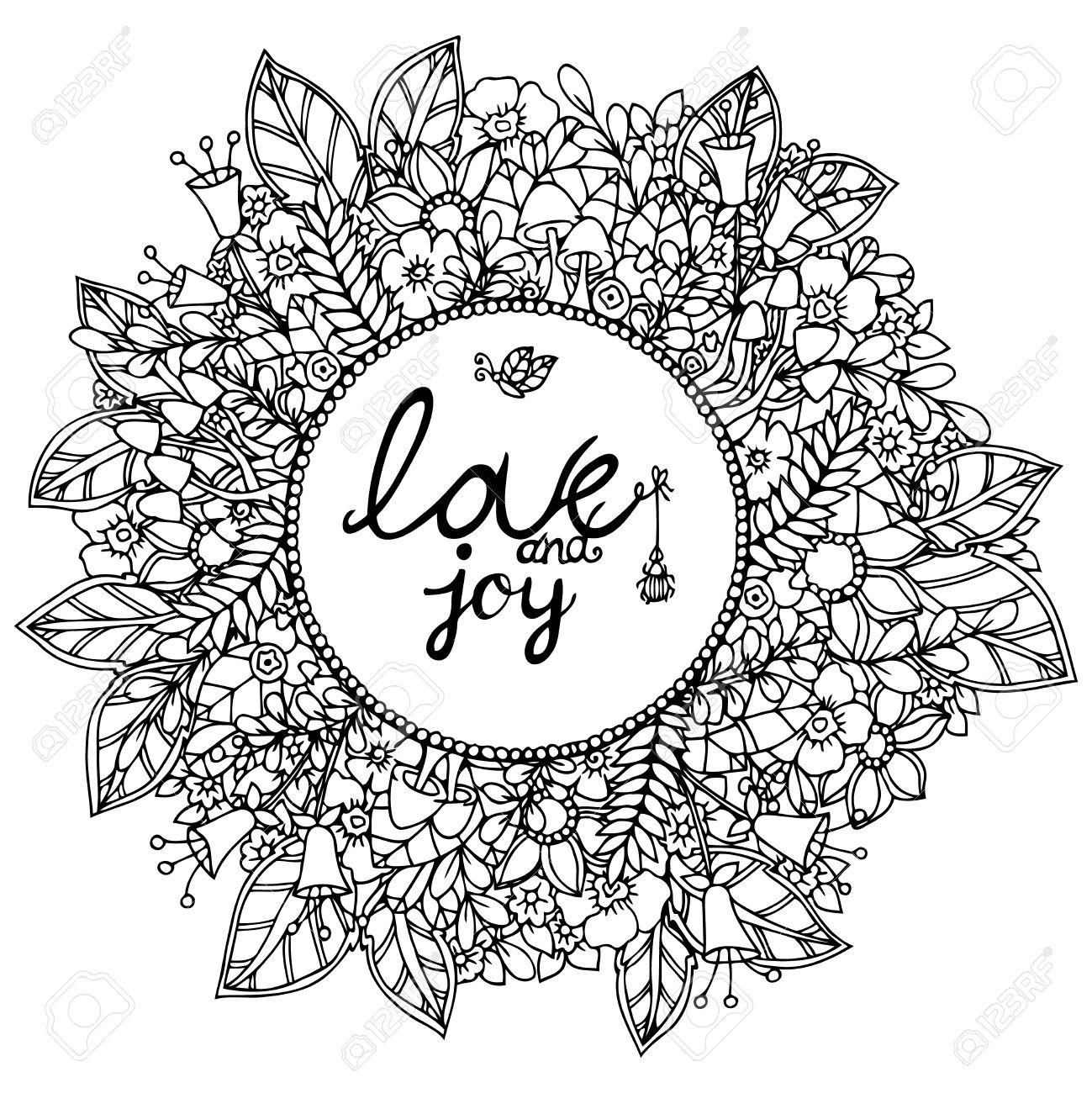 1299x1300 Vector Illustration Zentangl Round Floral Frame With Letering
