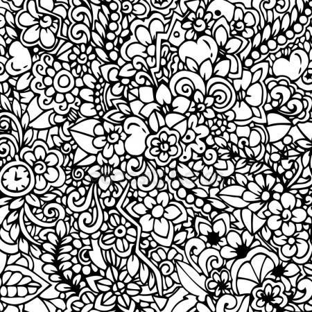 450x450 Vector Illustration Zen Tangle, Floral Background. Doodle Drawing