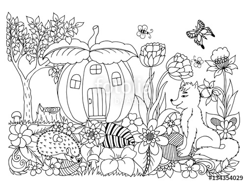 500x372 Vector Illustration Fox With Zentangl Hedgehog Flowers