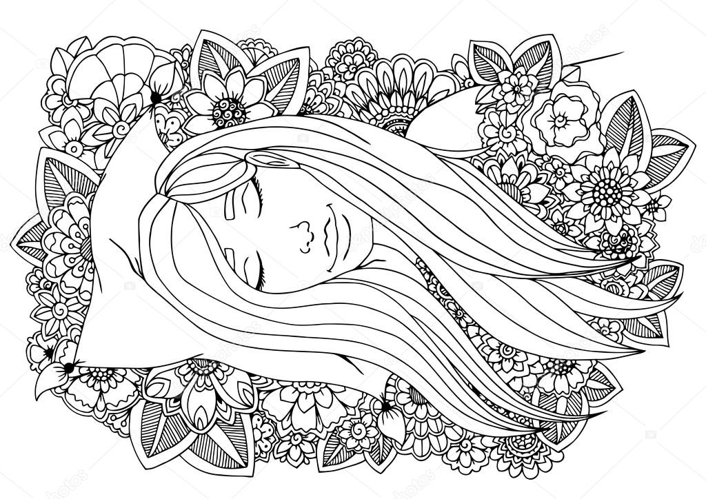 1024x724 Vector Illustration Girl Sleeping On A Pillow In The Flowers
