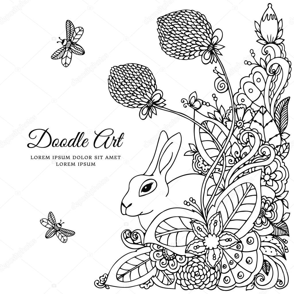 1024x1024 Vector Illustration Rabbit In Flower Frame. Doodle Drawing