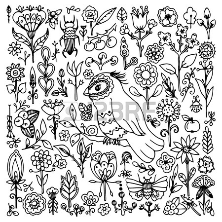 450x450 Vector Illustration Zentangl, Square Set With Birds And Flowers