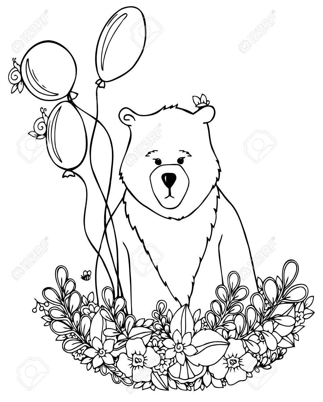 1045x1300 Vector Illustration Zentangl Bear In The Floral Frame Set. Doodle