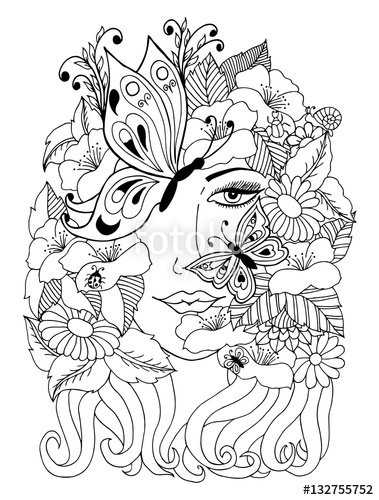 379x500 Vector Illustration Zentangl Portrait Of A Girl Covered