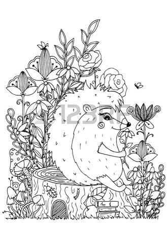 331x450 Vector Illustration Zentangl, Hedgehog Sitting On A Stump