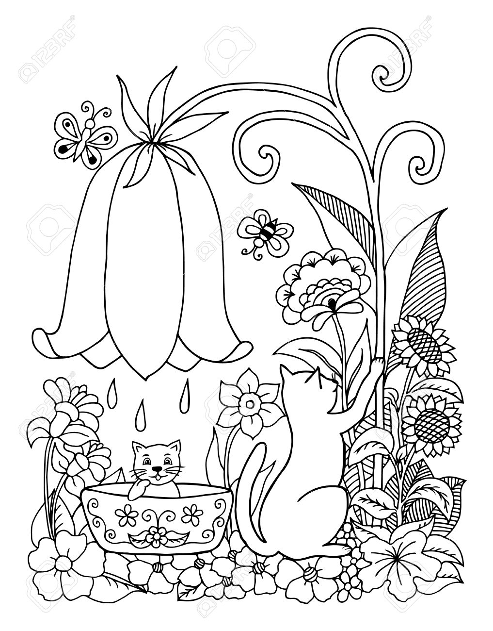1017x1300 Illustration A Cat Bathes The A Kitten On Nature. Doodle Drawing